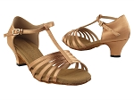 S9273 Tan Satin & Cuban Heel