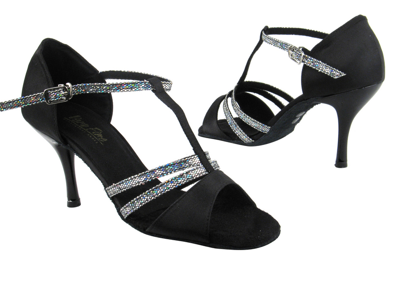 1683 Black Satin_172 Grey Scale_S_3in Slim Black Plated Heel