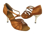 1724 236 Dark Tan Satin_3 inch Slim Gold Plated Heel