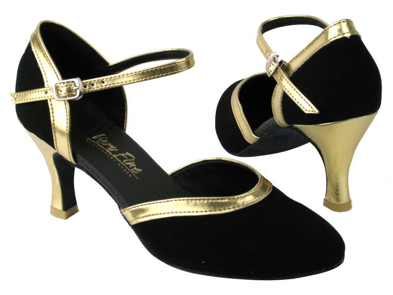 9621 136 Black Nubuck_Gold Leather Trim