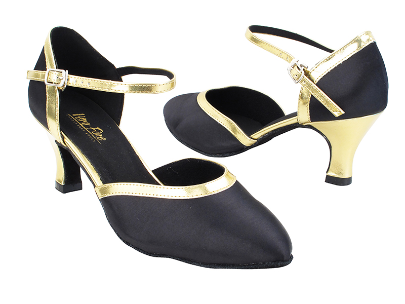 9621 38 Black Satin_62 Gold PU Trim with 2.5