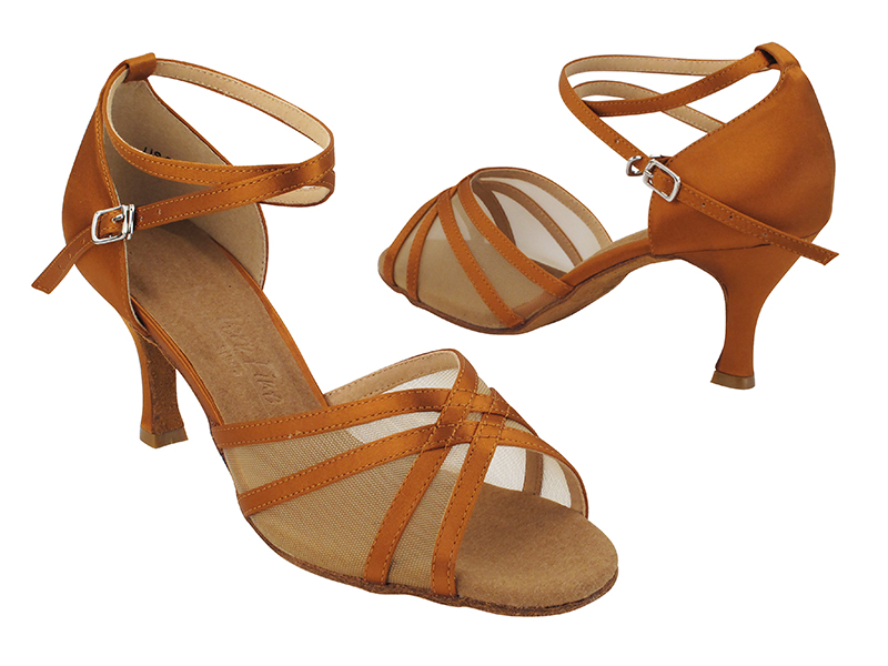 SERA1605 210 Dark Tan Satin_Flesh Mesh_X-Strap Ankle with Loop with 2.75