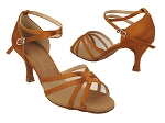 SERA1605 210 Dark Tan Satin_Flesh Mesh_X-Strap Ankle