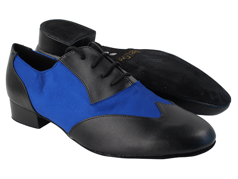 M100101 Black Leather_247 Blue Satin with 1