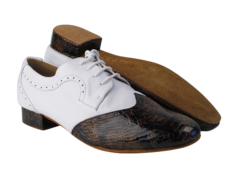 PP302 Dark Brown Snake Patent_F_H_Genuine White Leather_B
