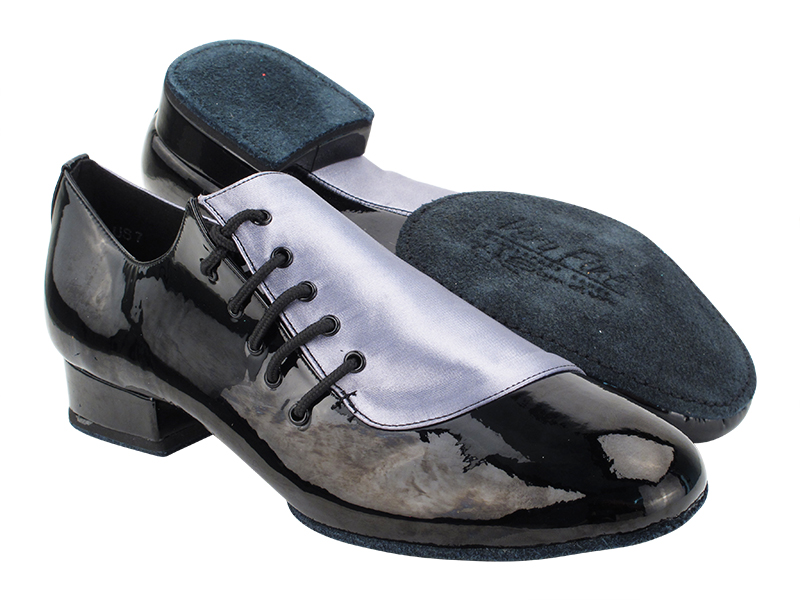 S2519 180 Grey Satin_288 Black Patent with 1