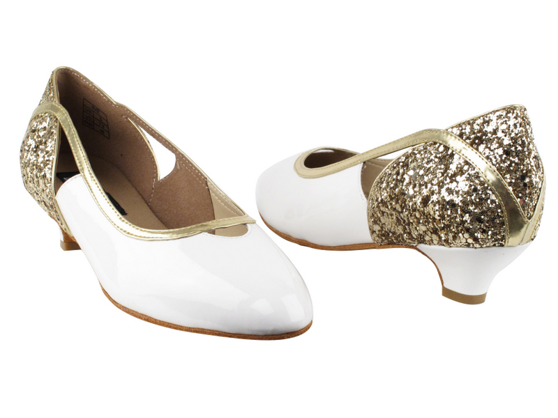 CD5503 Gold Sparkle & White Patent with 1.1