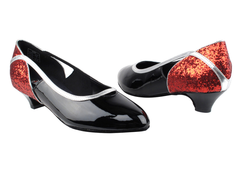 CD5503 Red Sparkle & Black Patent with 1.1