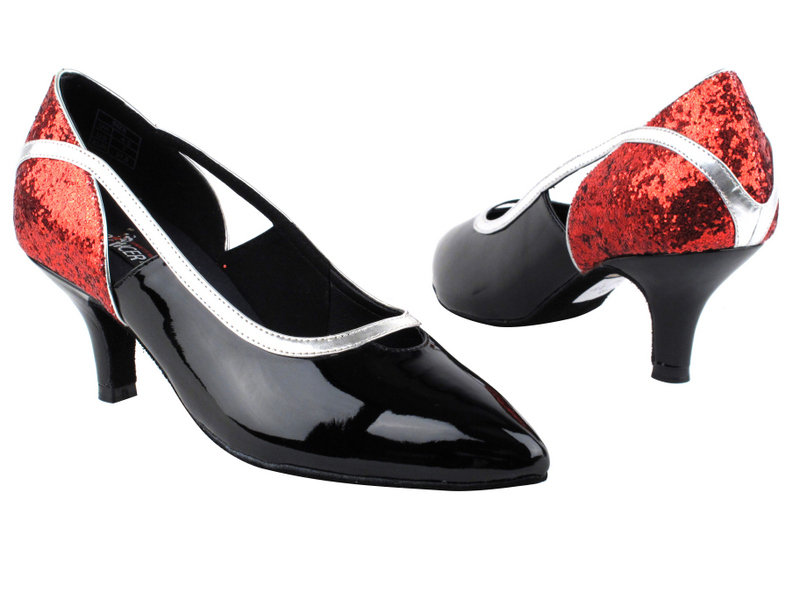 CD5503 Red Sparkle & Black Patent  with 2.5