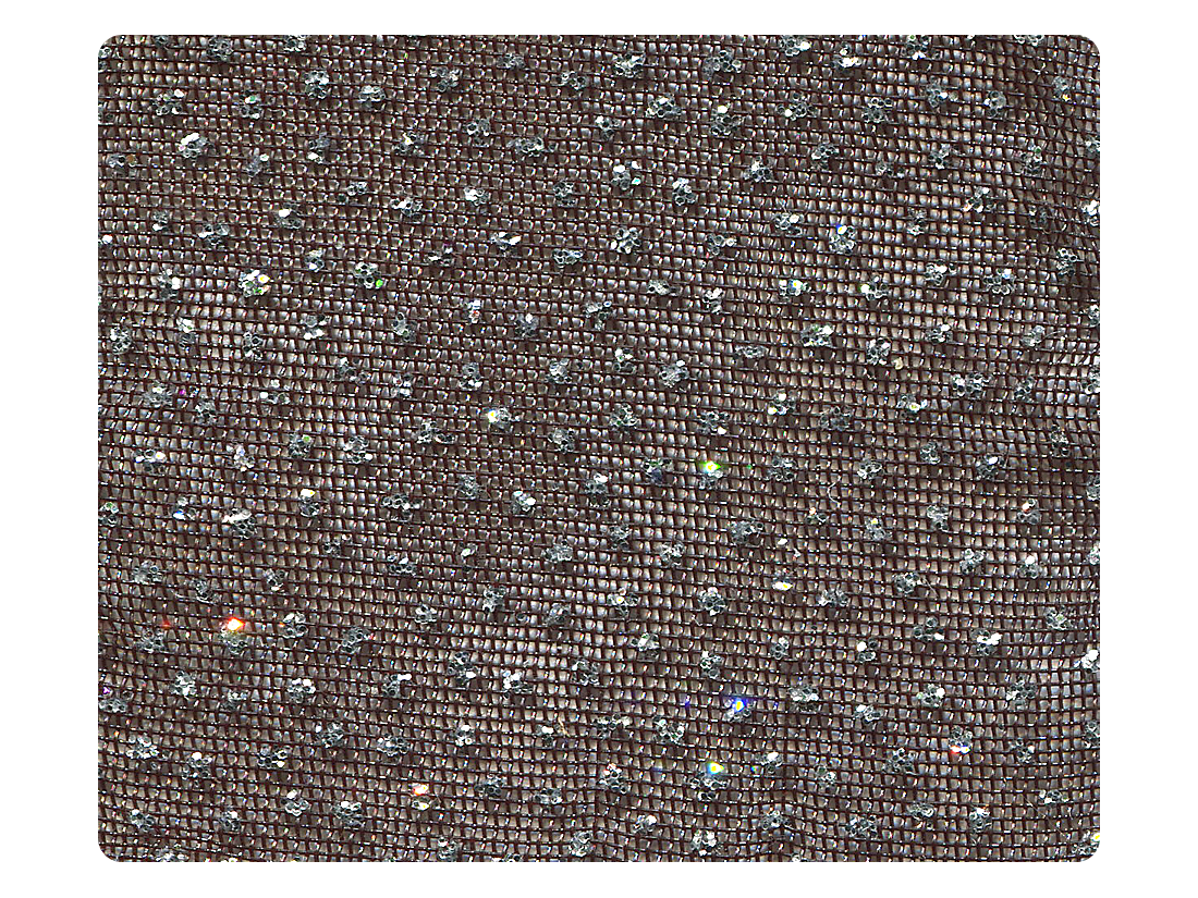 306 Black_Silver Glitter Mesh Fabric Swatch