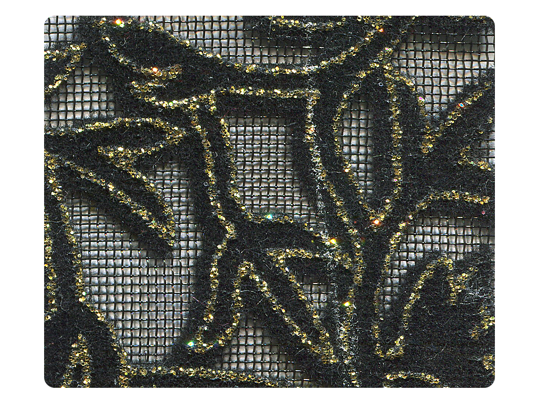 142 Gold Leaf Velvet Black Mesh Fabric Swatch