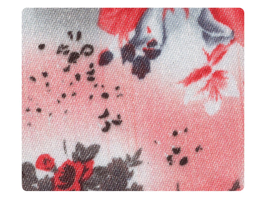 175 Grey_Red Flower Satin Fabric Swatch