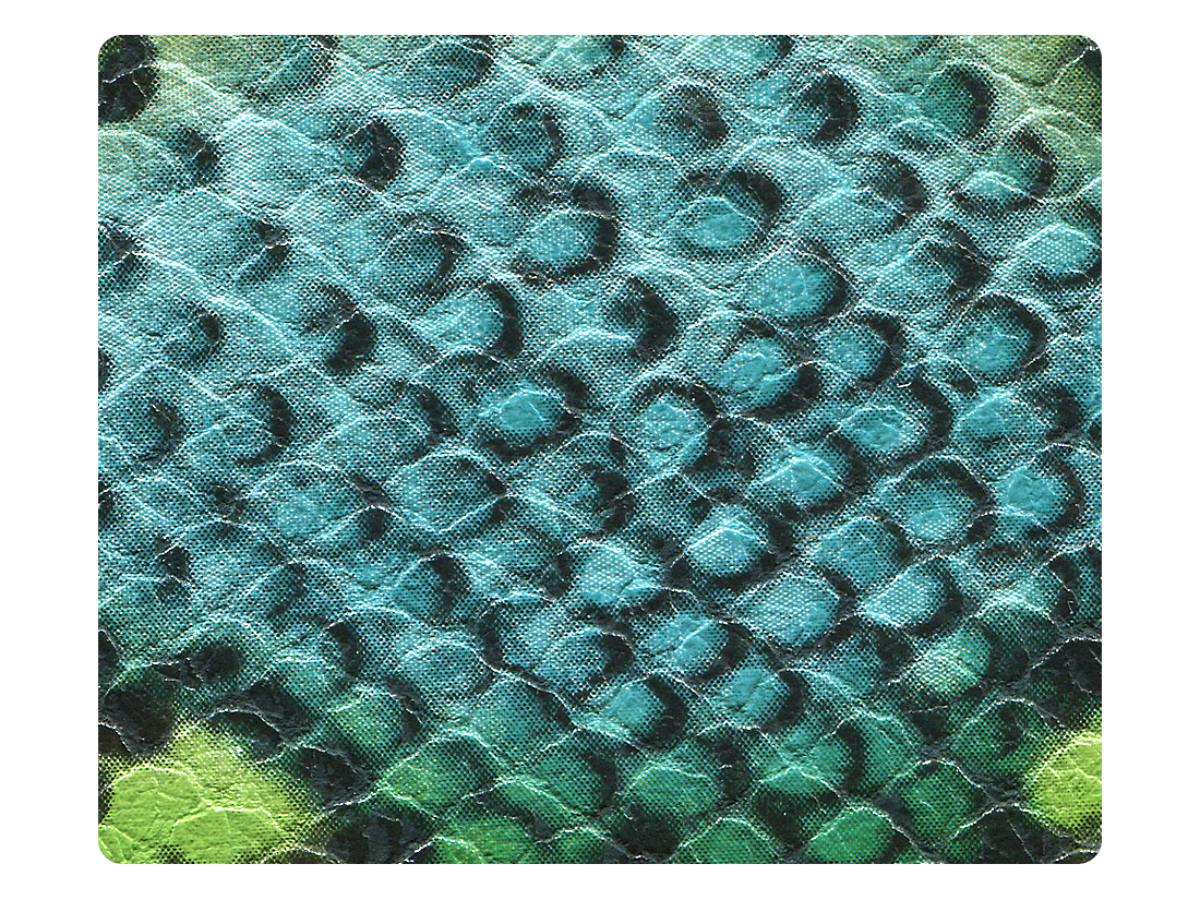 245 Blue & Green Snake PU Fabric Swatch