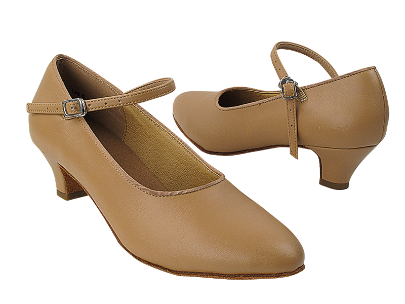 SERA5522 Beige Brown Leather Cuban Heel
