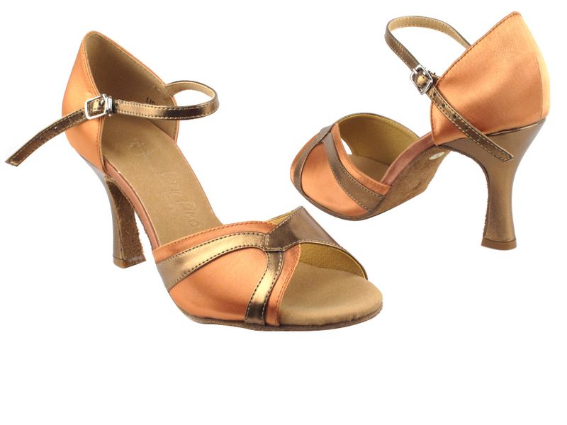 SERA3710 Tan Satin & Dark Tan Gold Trim with 3