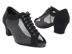 "C1643 Black Nubuck_Black Mesh with 1.6"" Medium Heel in the photo"
