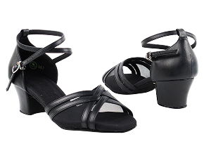 "C5017 Black Leather with 1.6"" Medium Heel in the photo"