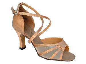 "1601 Brown Satin & Flesh Mesh with 3"" Heel in the photo"