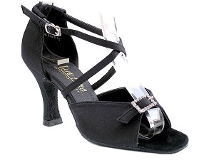 "1636 Black Satin with 3"" Heel in the photo"