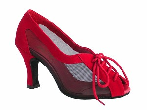 "1644 Red Velvet & Black Mesh with 3"" Heel in the photo"