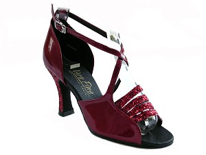 "1651 Red Sparkle & Red Patent with 3"" Heel in the photo"