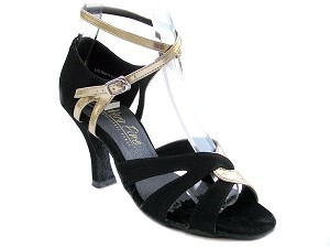 "1658 Black Nubuck & Gold Leather with 3"" Heel in the photo"