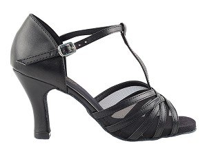 16612 Black Leather & Black Mesh & Thick Cuban Heel