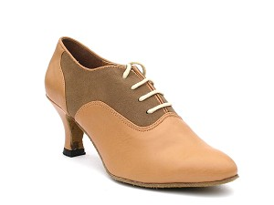 "1688 Brown Nubuck & Beige Brown Leather with 2.5"" low heel in the photo"