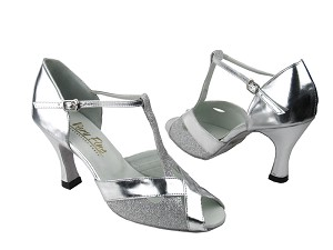 "2703 Silver Stardust & Silver with 3"" Heel in the photo"