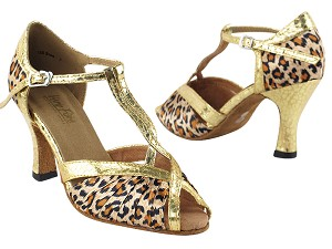 "2707 Leopard Satin & Ultra Gold Trim with 3"" Heel in the photo"