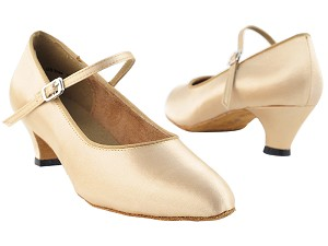 3008 Light Brown Satin & Cuban Heel