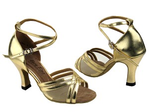 "5017 Gold Leather & Flesh Mesh with 3"" Heel in the photo"