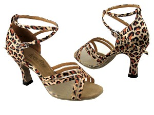 "5017 Leopard & Flesh Mesh with 3"" Heel in the photo"