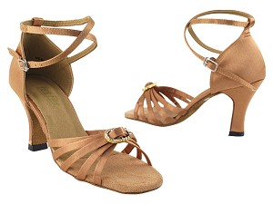 "6005 Brown Satin & Stone with 3"" Heel in the photo"