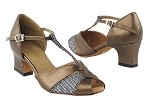 6006 Copper Leather & Black Sparklenet & Thick Cuban Heel