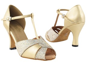 "6006 Light Gold Leather & Gold Sparklenet with 3"" Heel in the photo"