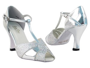 "6006 Silver Leather & Silver Sparklenet with 3"" Heel in the photo"