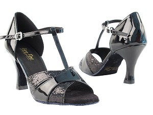 "6016 Black Sparkle & Black Patent with 3"" Heel in the photo"