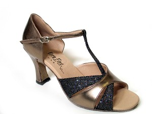 "6016 Copper Leather & Blk Sparklenet with 3"" Heel in the photo"