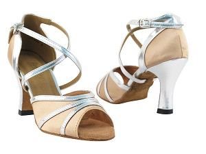 "6023 Light Brown Satin & Silver Trim with 3"" Heel in the photo"