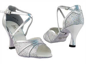 "6023 Silver Sparklenet & Silver Trim with 3"" Heel in the photo"