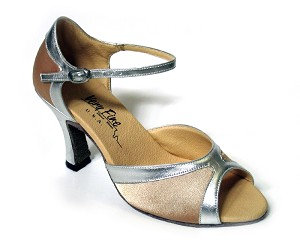 "6024 Light Brown Satin & Silver Trim with 3"" Heel in the photo"