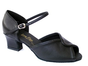 6028 Black Leather & Black Trim & Thick Cuban Heel