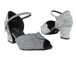 6028 Black Sparklenet & Black Trim & Thick Cuban Heel