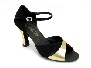 6029 Black Nubuck & Gold Leather