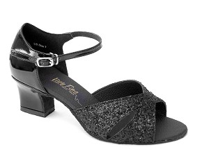 "6029 Black Sparkle & Black Patent with 2"" Thick Cuban Heel in the photo"