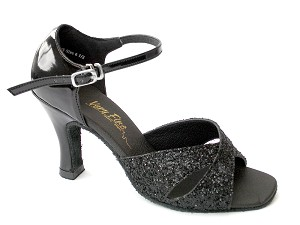 "6029 Black Sparkle & Black Patent with 3"" Heel in the photo"