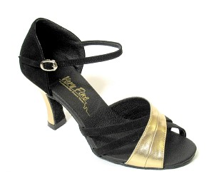 "6030 Black Nubuck & Gold Leather with 3"" Heel in the photo"