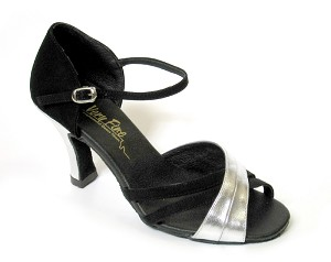 "6030 Black Nubuck & Silver Leather with 3"" Heel in the photo"