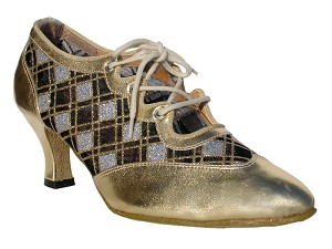 "6823 Gold Leather & Silver Sq Mesh with 2.5"" low heel in the photo"